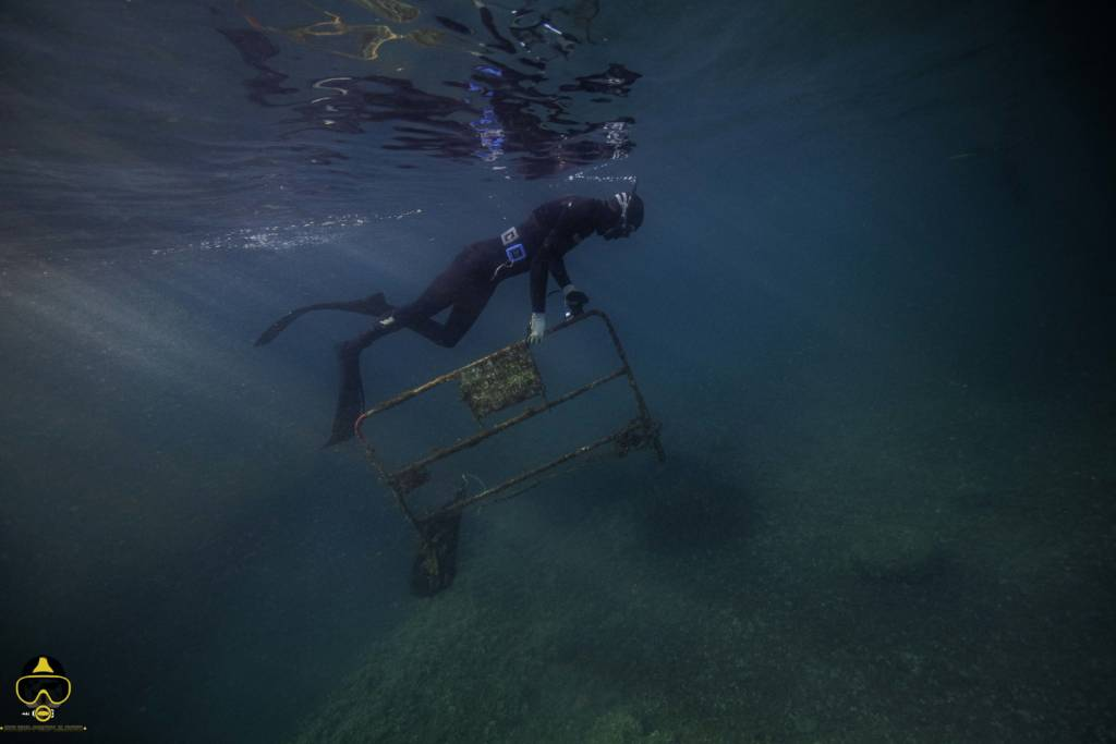 een duiker pakt een rug onder water op